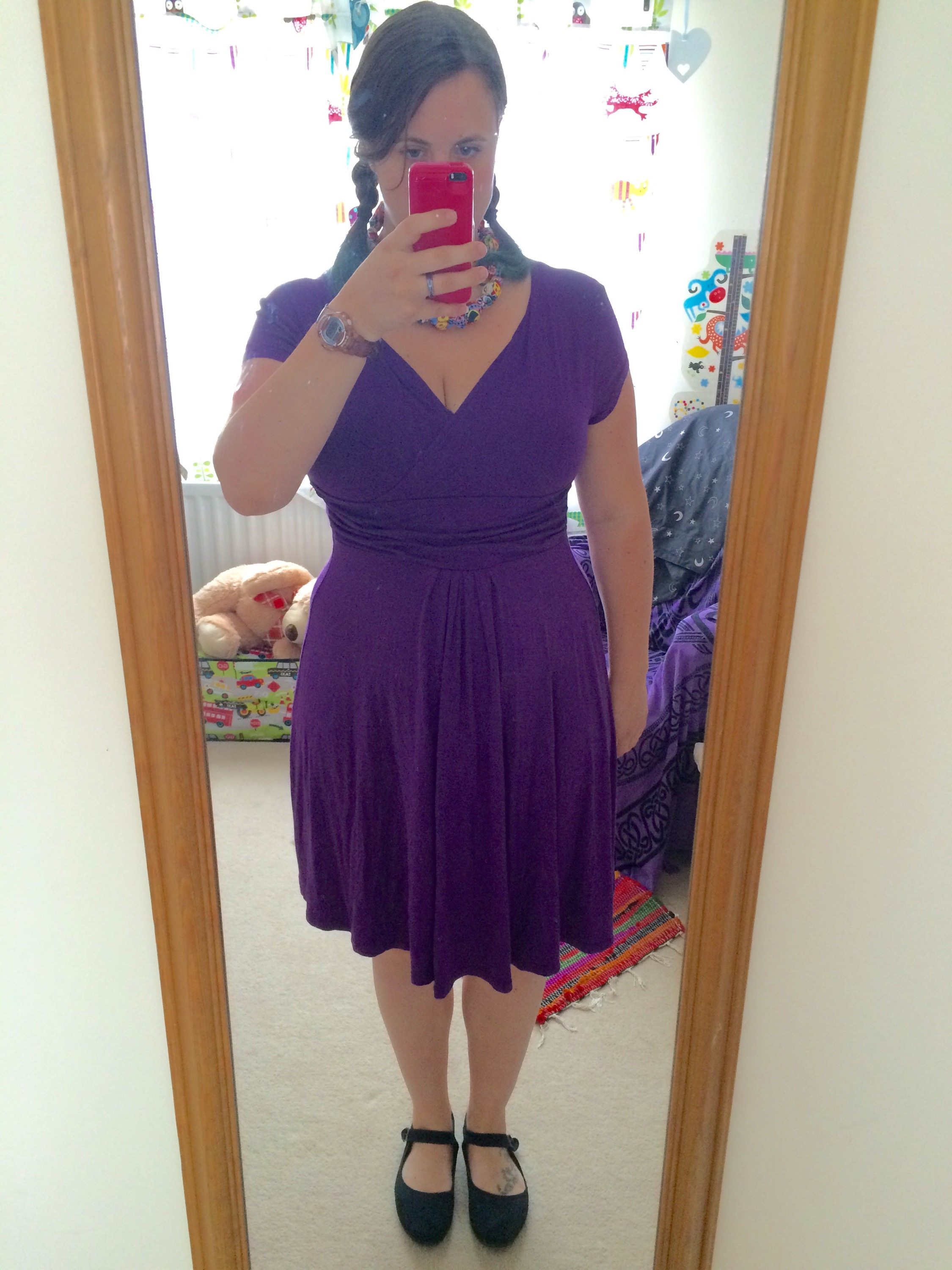 Purple short sleeve dress